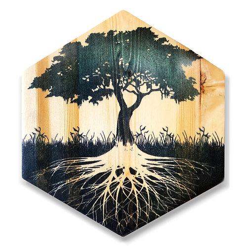 """Tree of Life"" Hexagon Wood Art"