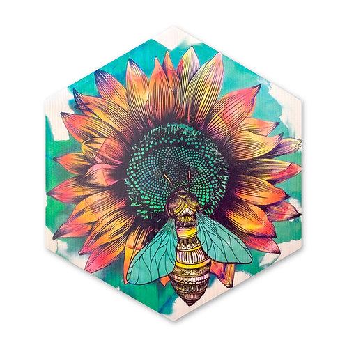 """Sunflower Bee"" - Large Hexagon Wood Art"