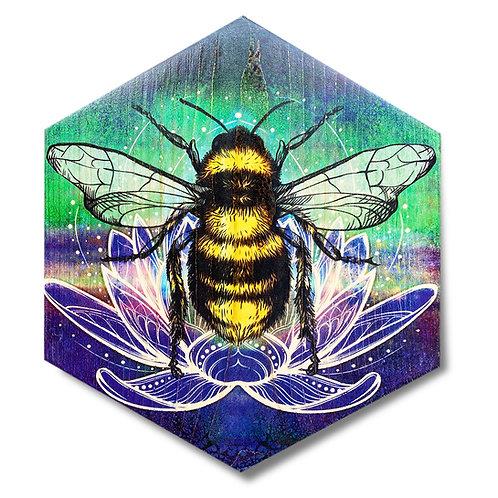 """Aurora Lotus Bee"" Large Hexagon Wood Art"
