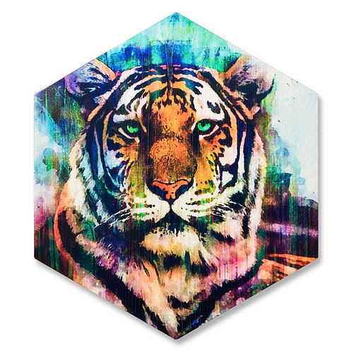 """Mystic Tiger"" - Large Hexagon Wood Art"