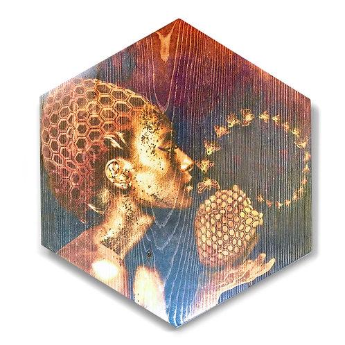 """HeART of Honey"" Large Hexagon Wood Art"