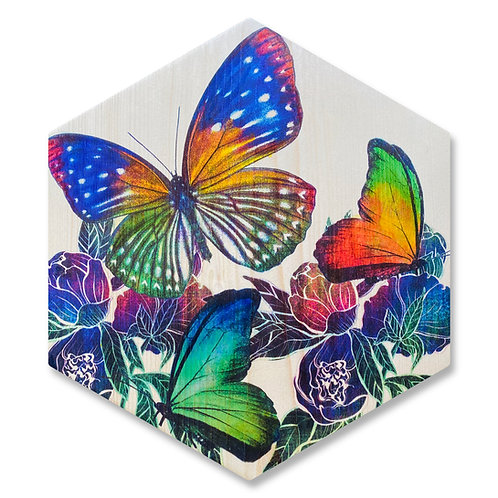 """""""Technicolor Butterflies"""" - Large Hexagon Wood Art"""