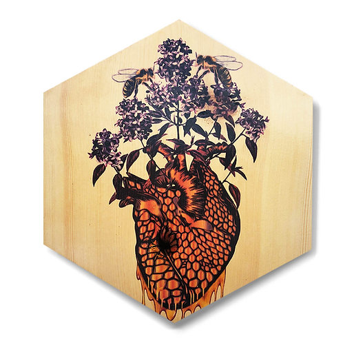"""HeART of Honey"" with Lilacs - Large Hexagon Wood Art"