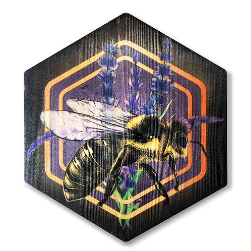 """Lavender Bee"" Hexagon Wood Art"