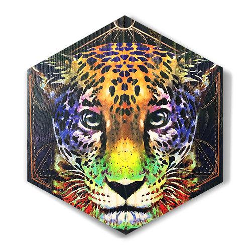 """Vibrant Jaguar"" Large Hexagon Wood Art"