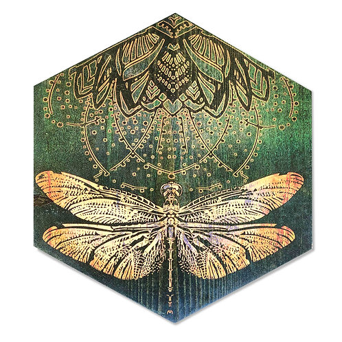 """Gold & Emerald Dragonfly"" Large Hexagon Wood Art"