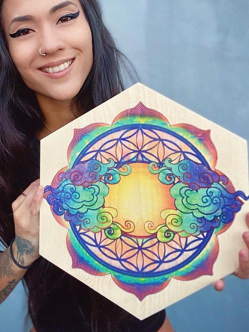 """ Sacred Sunflower of Life"" Large Hexagon Wood Art"