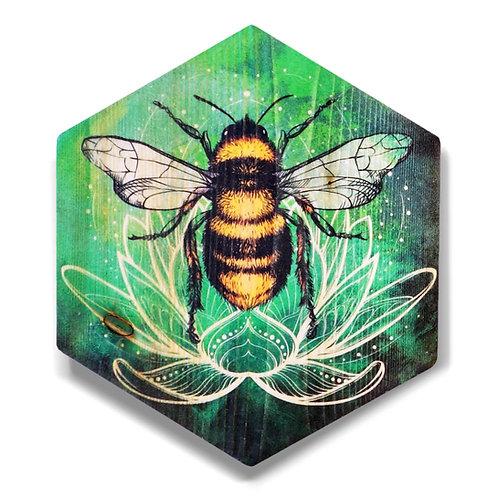 """""""Lotus Bee in Emerald Green"""" Hexagon Wood Art"""