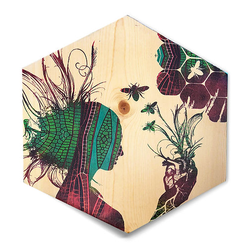 "Green/Ruby  ""Queen of HeART's"" Large Hexagon Wood Art"