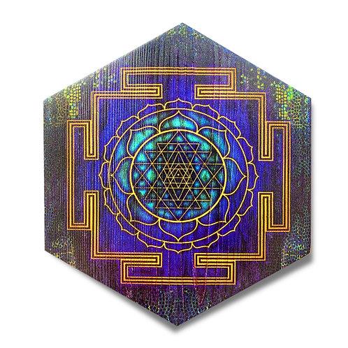 """Sri Yantra"" Hexagon Wood Art"