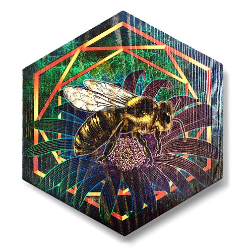 """Vibrant UltraViolet Bee"" Large Hexagon Wood Art"