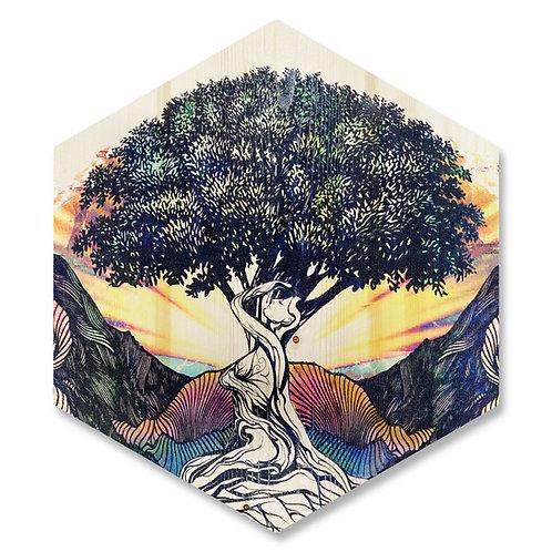 """Mother Earth"" (Facing Left) - Large Hexagon Wood Art"
