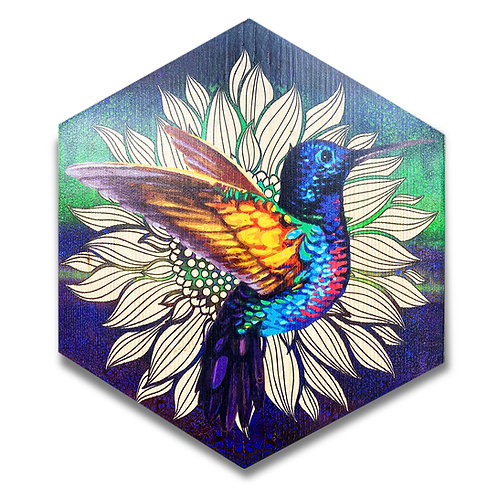 """Hummingbird"" - in Aqua and Violet - Large Hexagon Wood Art"