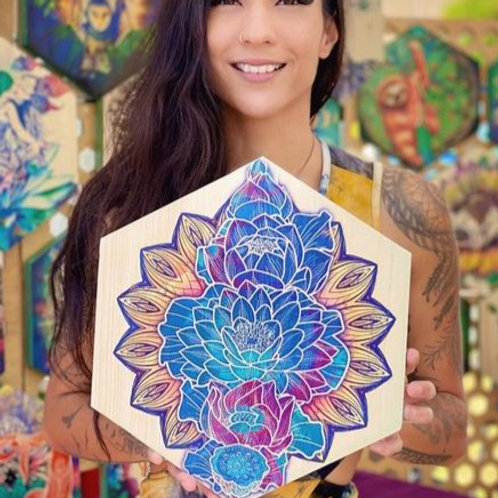 """""""Stages of the Blooming Lotus""""- Large Hexagon Wood Art"""