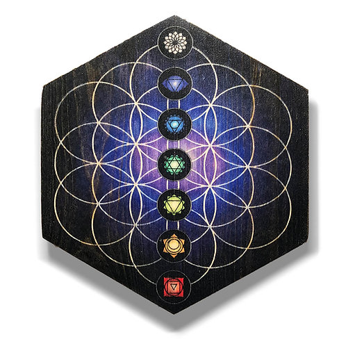 """7 Chakras"" Hexagon Wood Art"