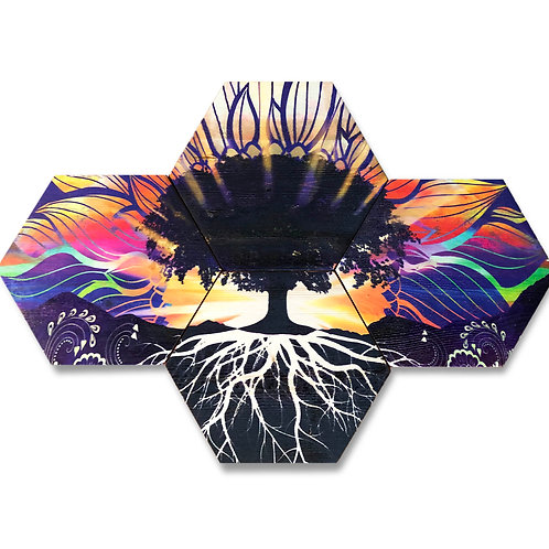 """Sunrise Tree"" 4- Panel Hexagon Wood Art"