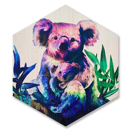 """Koala Love"" - Large Hexagon Wood Art"