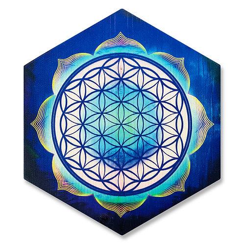 """Flower of life"" - Large Hexagon Wood Art"