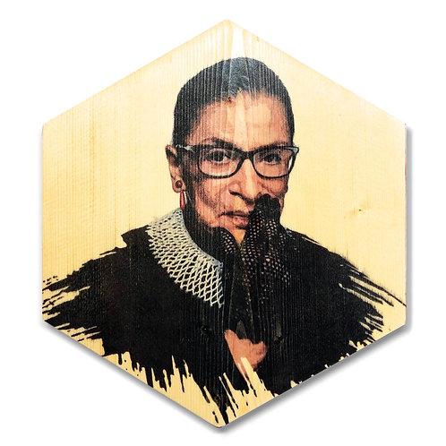 """""""Ruth Bader Ginsburg"""" Hexagon Wood Art"""