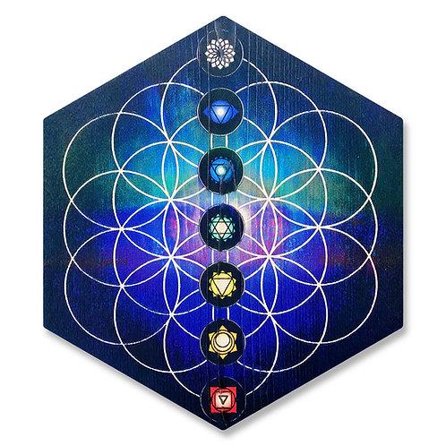 """7 Chakras"" - Large Hexagon Wood Art"