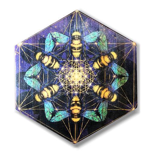 """Bee-Hive Mandala"" Hexagon Wood Art"