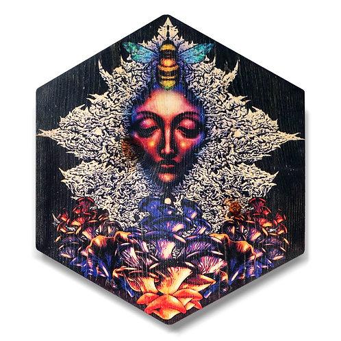 """Earth Goddess"" Large Hexagon Wood Art"