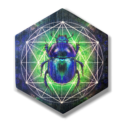 """Scarab"" Hexagon Wood Art"