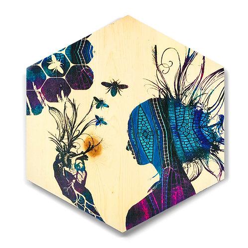 """Violet """"Queen of HeART's"""" Large Hexagon Wood Art"""