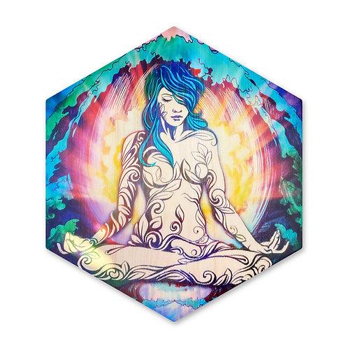 """Goddess - Still Amongst the Waves""- Large Hexagon Wood Art"