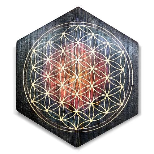 """Seed of Life""Hexagon Wood Print"