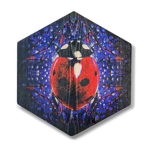 """""""Ladybug in Purple"""" Hexagon Wood Art"""
