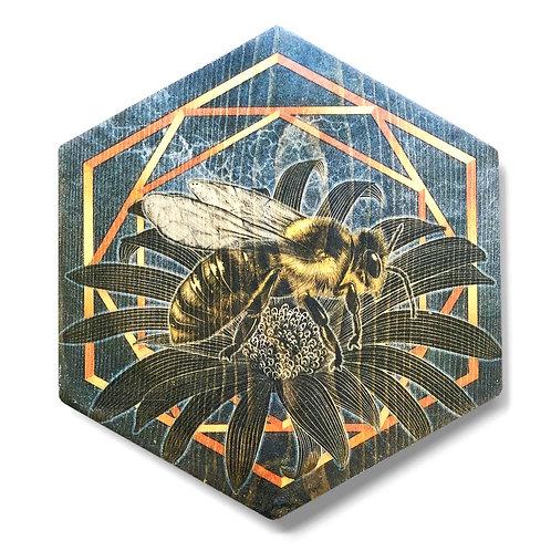"""""""UltraViolet Bee in Silver"""" Hexagon Wood Art"""