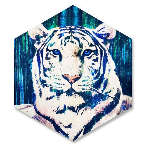"""""""White Tiger"""" - Large Hexagon Wood Art"""