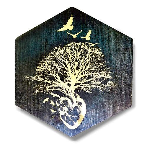 """HeART of Vitality in Blue"" Hexagon Wood Art"