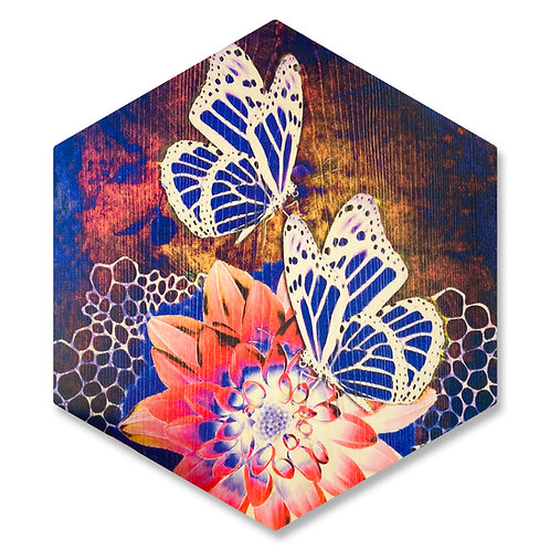 """Midnight Monarchs"" Large Hexagon Wood Art"