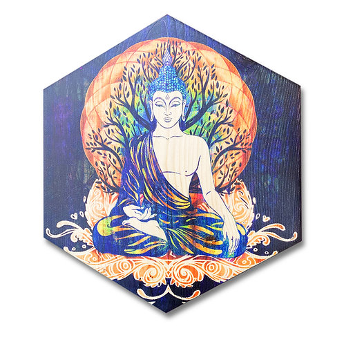 """Enlightened Buddha"" Large Hexagon Wood Art"
