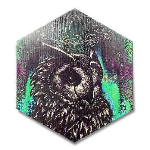 """Moonlight Owl"" Large Hexagon Wood Art"