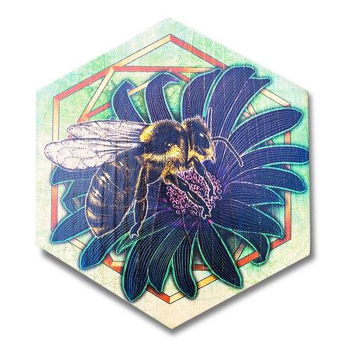 """""""UltraViolet Bee in Lime"""" Hexagon Wood Art"""