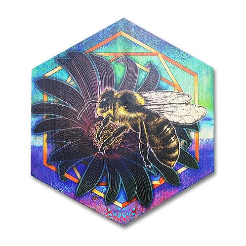 """UltraViolet Bee in Aurora Colors"" Large Hexagon Wood Art"