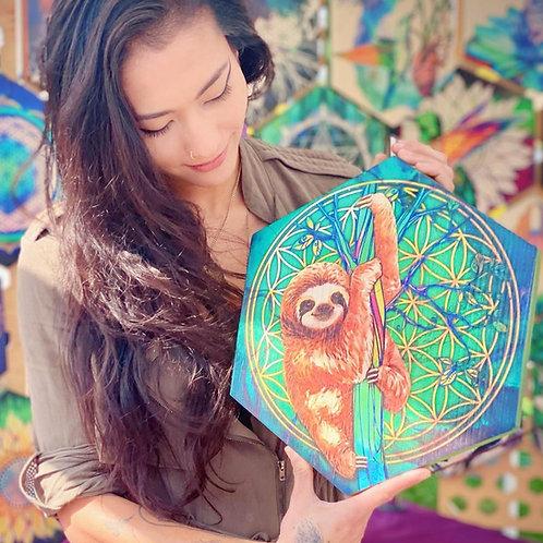 """""""Sacred Sloth"""" - Large Hexagon Wood Art"""