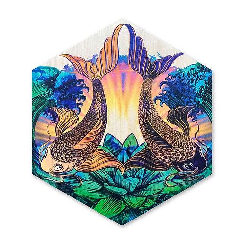 """Sunrise Koi"" - Large Hexagon Wood Art"