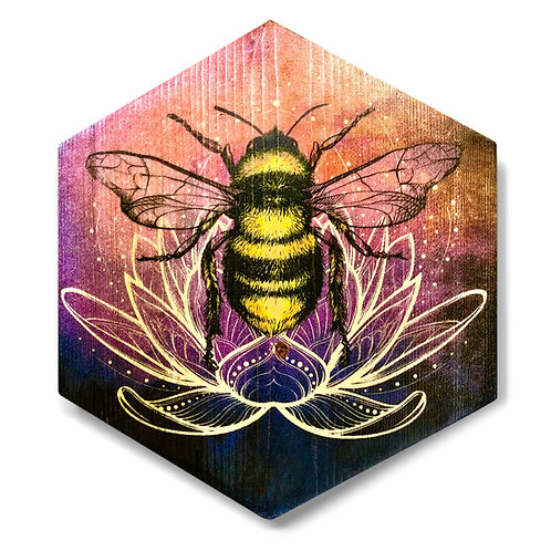 """Lotus Bee in Sunset Colors"" Hexagon Wood Art"