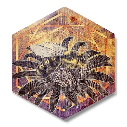 """""""UltraViolet Bee in Honey Lavender"""" Hexagon Wood Art"""