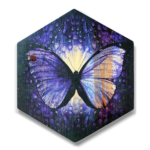 """Butterfly in Violet"" Hexagon Wood Art"
