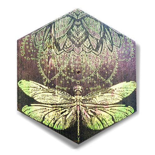 """""""Dragonfly in Emerald"""" Large Hexagon Wood Art"""