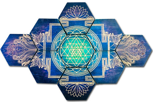 """Sri Yantra"" 9-Panel Hexagon Wood Art"
