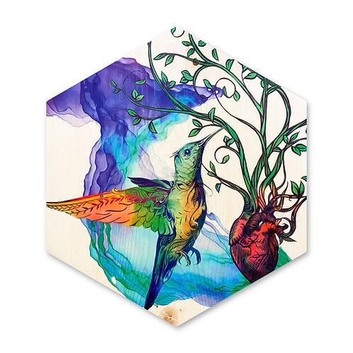 """A Humming HeART"" Hummingbird - Large Hexagon Wood Art"
