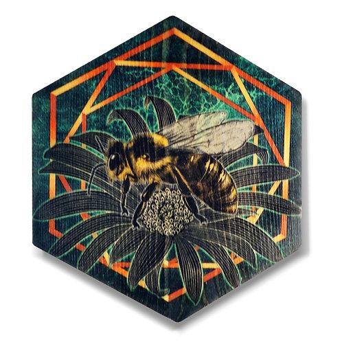 """""""UltraViolet Bee in Emerald Green"""" Hexagon Wood Art"""
