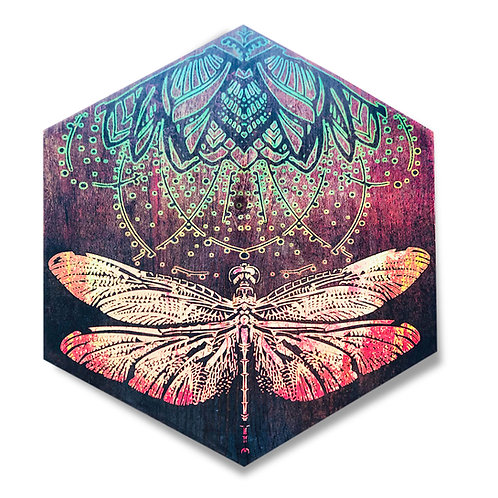 """Dragonfly in Gold and Aqua Menthe"" Large Hexagon Wood Art"