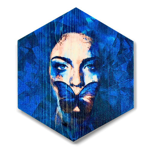 """Sapphire Words"" Hexagon Wood Art"